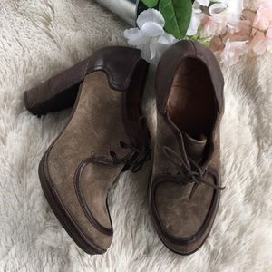NaNa Lace Brown Suede Tie Oxford Heeled Booties 5